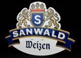 Sanwald Weizen Bier, Werbeschild aus Kunststoff mit Halterung, kl. Ausführung
