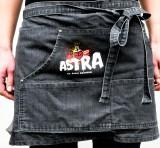 Astra Bier, Denim Grillschürze, Servierschürze, Jeansstoff grau, kurze Ausführung