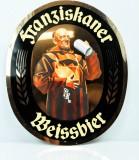 Franziskaner Bier, Werbeschild, Reklameschild aus Kunststoff, Mönch gold