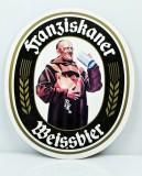 Franziskaner Bier, Werbeschild, Reklameschild aus Kunststoff, Mönch weiß