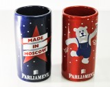 Parliament Vodka, Shotglas Set rot /blau aus Keramik Made in Moscow