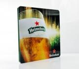 Heineken Bier, Edelstahl / Acryl Werbeschild, Bierglas Foto Sammeledition