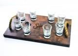 Sauza Tequila, Echt Holz Tablett, Servier Tablett mit 8 Shot Gläsern