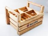 Bacardi Rum, Echtholz Trage Tablett, Serviertablett, Flaschenträger