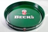 Becks Bier, Serviertablett, Rundtablett, Kellnertablett, grün Schlüssel