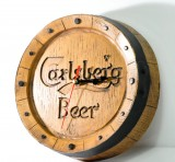 Carlsberg Bier, Echtholz Optik Fassboden Wanduhr