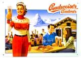 Budweiser Bier, 3D Blechschild, Werbeschild Skihütte