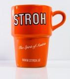 Stroh Rum, Kaffeebecher, Kaffetasse, Becher, Tasse orange, konisch, 0,25l