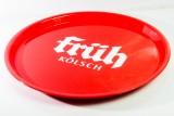 Früh Kölsch Bier, Serviertablett, Rundtablett, rot gummiert, 36 cm