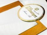 Bitburger Bier, Echtholz XXL Tafel mit Spiegel und emailierten Logo
