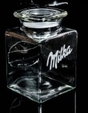 Milka Keksdose, Keksglas, Windlichtglas, Blumenvase, Dose, englisch