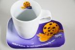 Milka Schokolade Kaffeegedeck, Geschirr Kahla Milka Keks, Kaffetasse, Becher