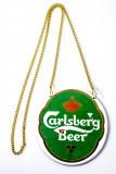 Carlsberg Bier, Emaile Zapfhahnschild Carlsberg Beer mit Kette