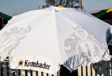 Krombacher Bier, Sonnenschirm, Sonnenschutz, weiße Ausführung, mit Knickgelenk