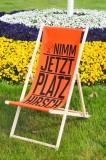 Jägermeister Buchenholz Liegestuhl / Strandliege / Klappstuhl Platzhirsch