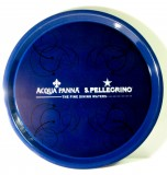 San Pellegrino Wasser, Acqua Panna Serviertablett, Rundtablett, blaue Ausführung Anti Rutsch Haftung