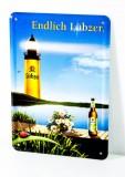 Lübzer Bier, Postkarten Werbe Blechschild Blumenstrauß