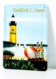 Lübzer Bier, Postkarten Werbe Blechschild Wasserball