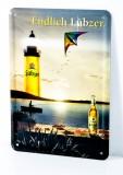 Lübzer Bier, Postkarten Werbe Blechschild Drachen