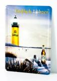 Lübzer Bier, Postkarten Werbe Blechschild Schlittschuhe