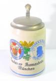 Paulaner Weissbier, Bierkrug, Tonkrug mit Zinndeckel 0,5l Paulaner Thomas-Bräu München