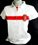 Jim Beam Whisky, Polo T-Shirt, Women, Gr. S/M, The Bourbon Sice 1795 Logo vorne, weiß