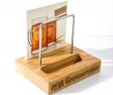 Grevensteiner Bier, Echtholz Speisekartenaufsteller, Tischaufsteller, zweifächrig