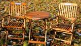 Ramazzotti Likör, 3 teilige Echt Eukalyptusholz Balkon Sitzgruppe, Terassenmöbel klappbar, witterungsbeständig
