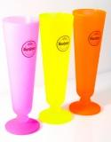 Warsteiner Bier, 3x Sonderedition, Biertulpe, Bierglas, satiniertes Neonglas Orange, Pink, Gelb 0,2l