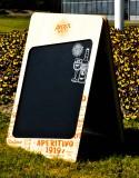 Aperol Spritz, Echtholz Kundenstopper, Straßenaufteller, Kreidetafel Chalkboard 2in1 inprägniert