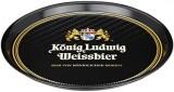 König Ludwig Weissbier, Serviertablett, Kellnertablett, Rundtablett, schwarze Ausführung