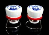 Flensburger Pilsener, FLENS Keramik Salz und Pfeffer Streuer Bügelverschluß Plopper auf Edelstahlhalterung