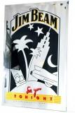 Jim Beam Whisky, Randloser Kristall Werbespiegel, Rand geschliffen See u tonight