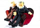 Waldorf und Statler auf Sofa, Muppets Show, Sammlerstück unbespielt / Rarität!!