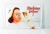 Warsteiner Bier, Pilsener Blechschild, Werbeschild, Reklameschild Königin...