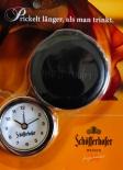 Schöfferhofer Reisewecker / Uhr mit Lederetui
