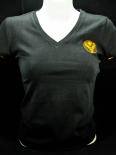Jägermeister T-Shirt woman, Gastro, V-Ausschnitt, schwarz/orange, Gr.XS