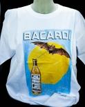 Bacardi Rum T-Shirt weiss Fledermaus, Gr. L mit Rundausschnitt