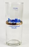 Hella Mineralbrunnen Glas / Gläser, Trinkbecher, Wasserglas blaue Schrift 0,2l